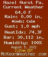 Current Weather Conditions in Wildcat Hollow, Hazel Hurst Pa